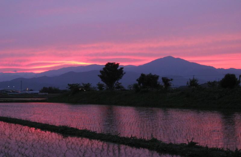 ⇒強烈な夕焼け大山と田んぼ