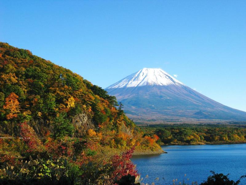 本栖湖 紅葉 富士山