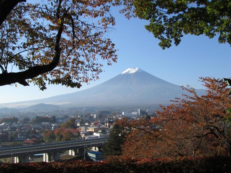 富士吉田の桜の紅葉と富士山(新倉浅間公園・2010年11月6日)