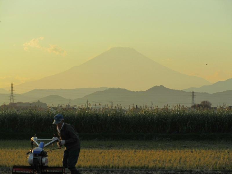 富士山と農家の爺さん