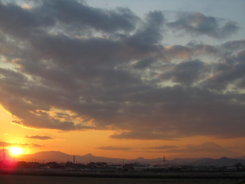 富士山 夕日 神奈川